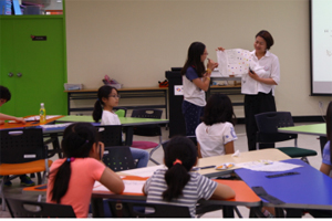 배움터에서 교육중인 어린이들